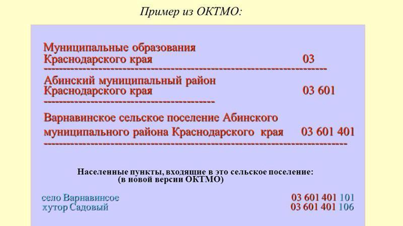 Код ОКТМО: образец расшифровки