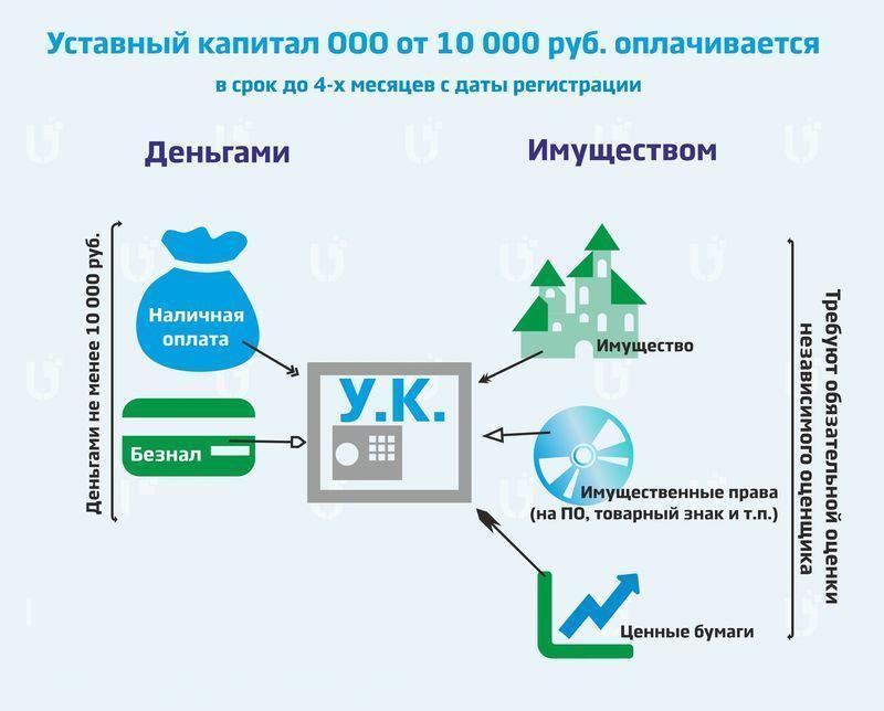 срок оплаты уставного капитала при регистрации ООО
