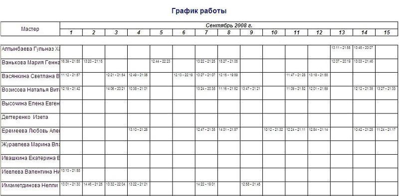 образец график работы на одного сотрудника